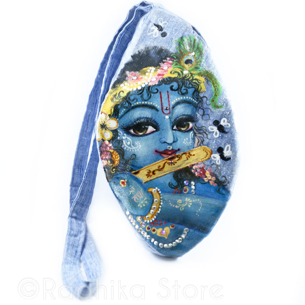 Darling Gopal of Vrindavan- Hand Painted - Blue Bead Bag