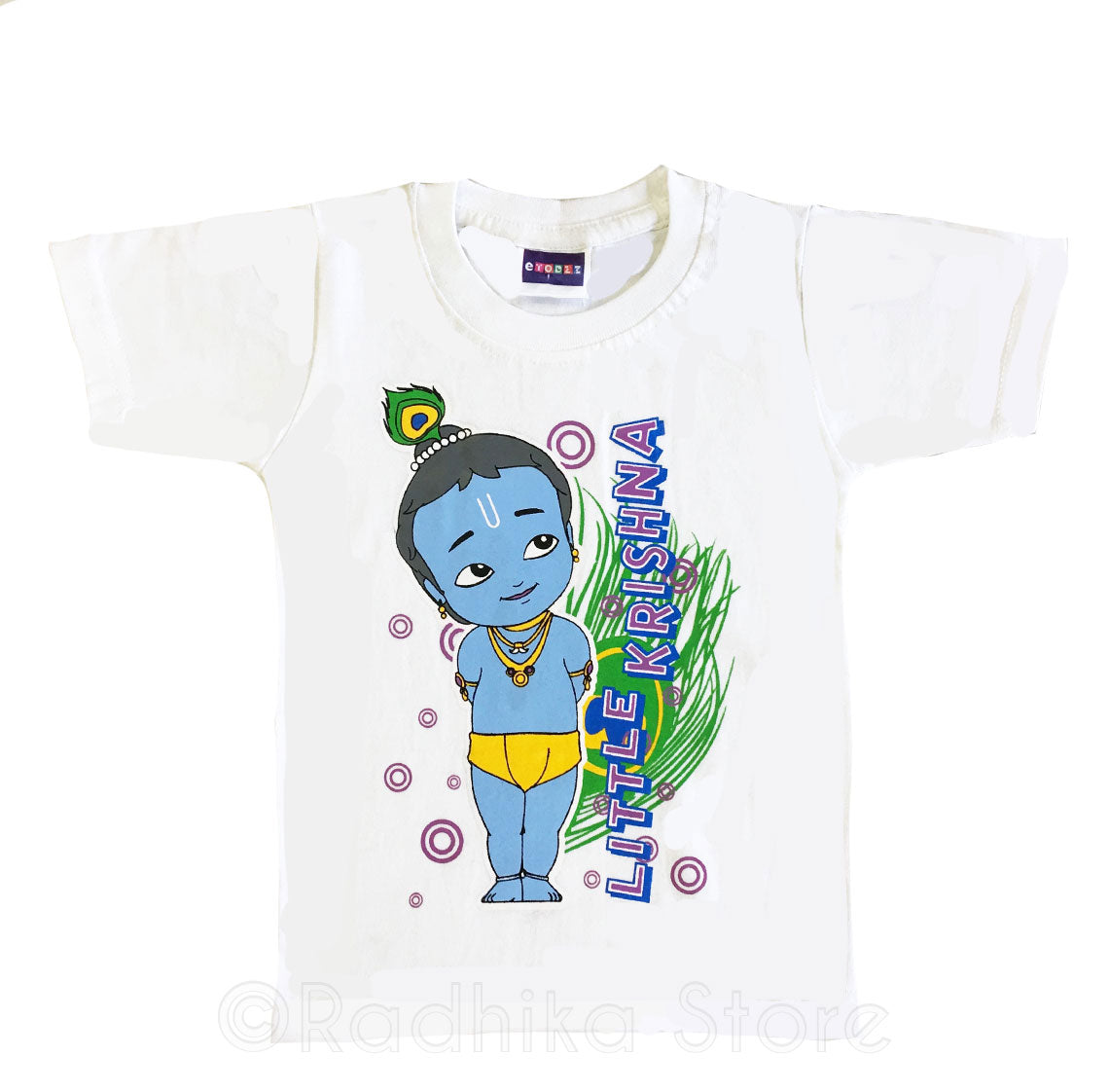 Daring Little Krishna Standing With Peacock Feather- Short Sleeve- Size- 6 to 12 Months