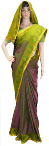 Golden Lime Magenta - Art Silk Jari Saree