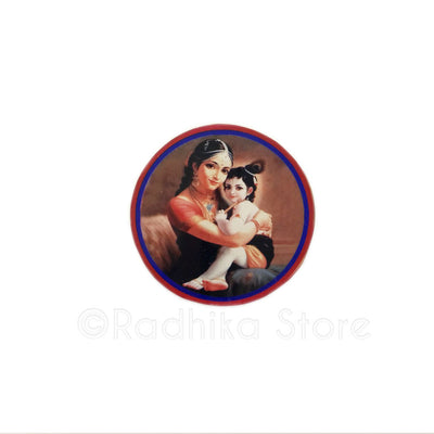 The Divine Mother Yasodha and Lord Krishna Acrylic Button