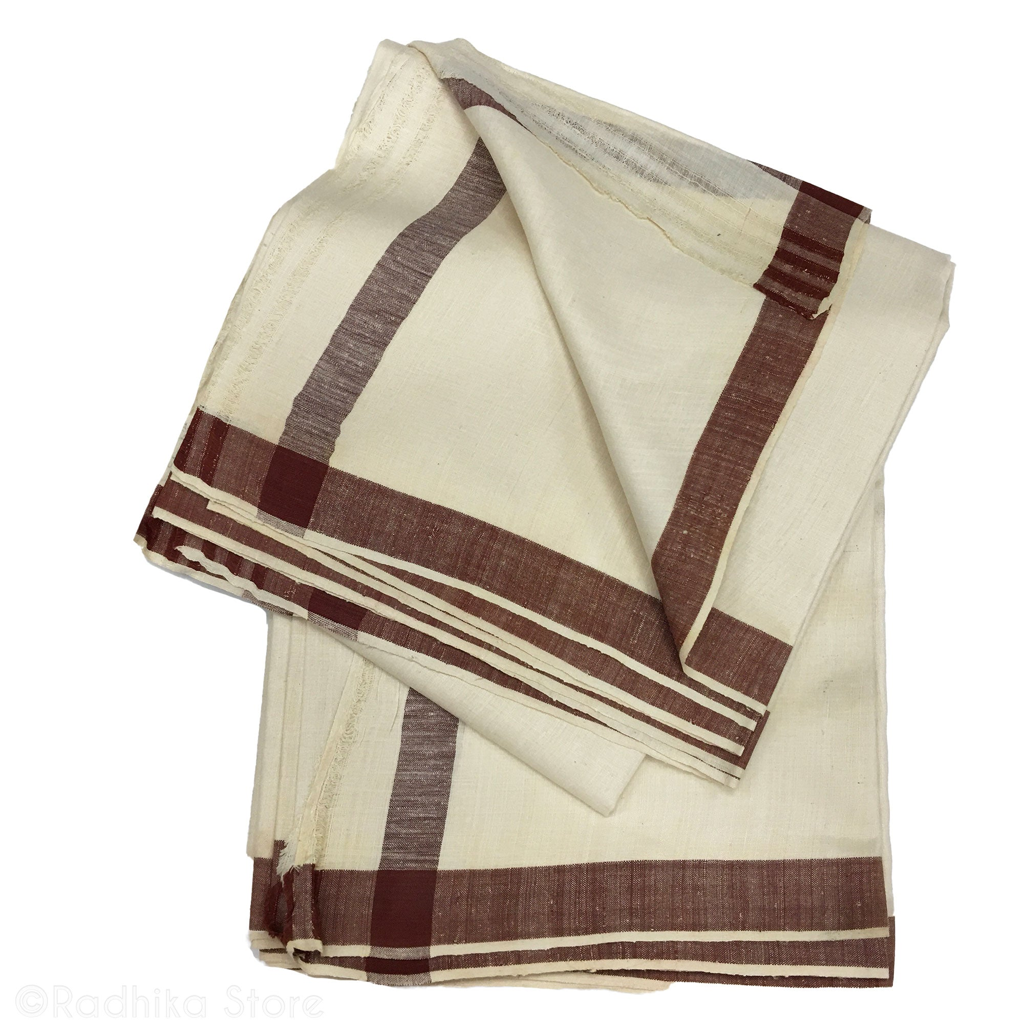 Raw Silk Dhoti And Chadar - Natural Khadi - Cream With Rust Stripe