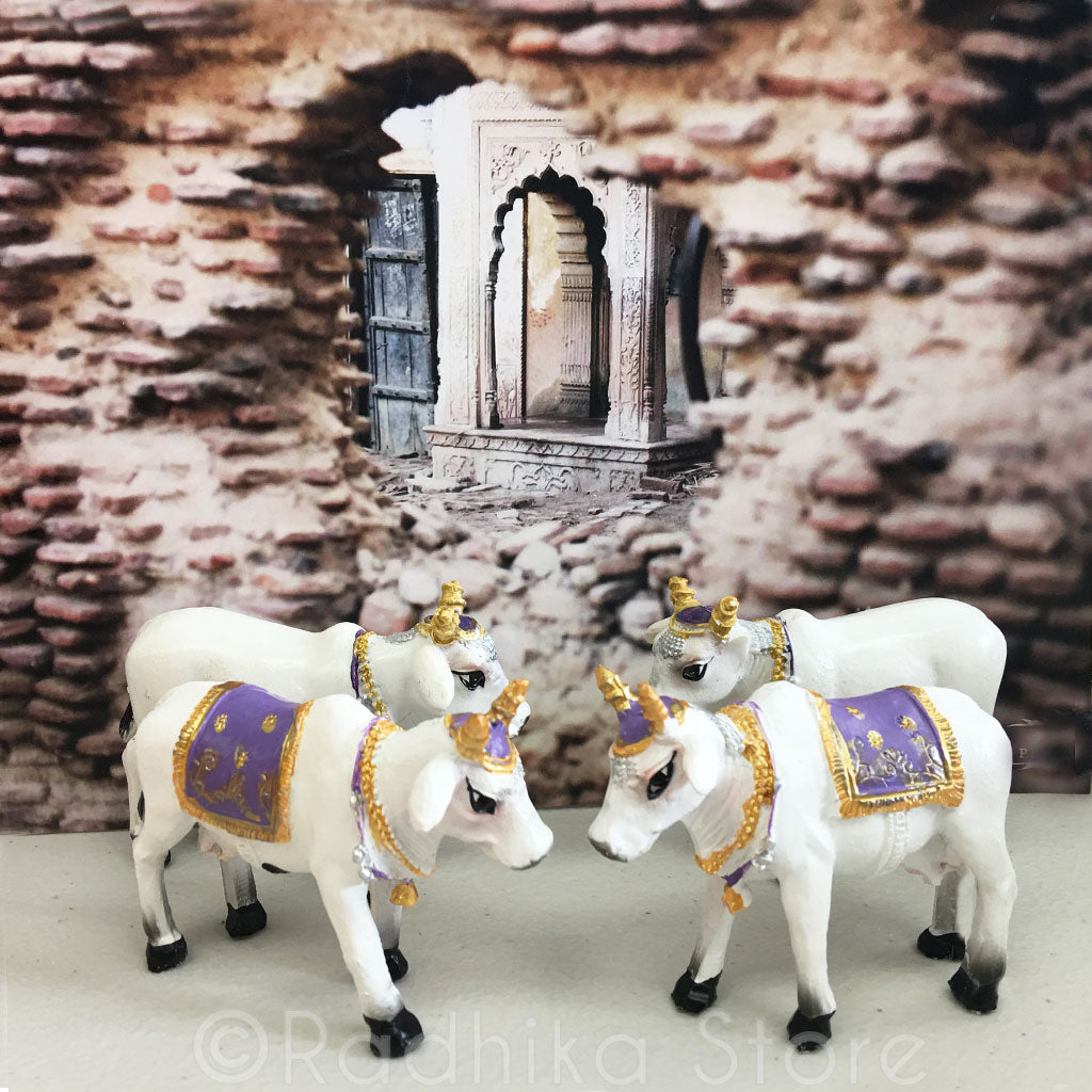 "Small Surabhi Altar Cows Purple Set  Standing 2 3/4"" Inches"