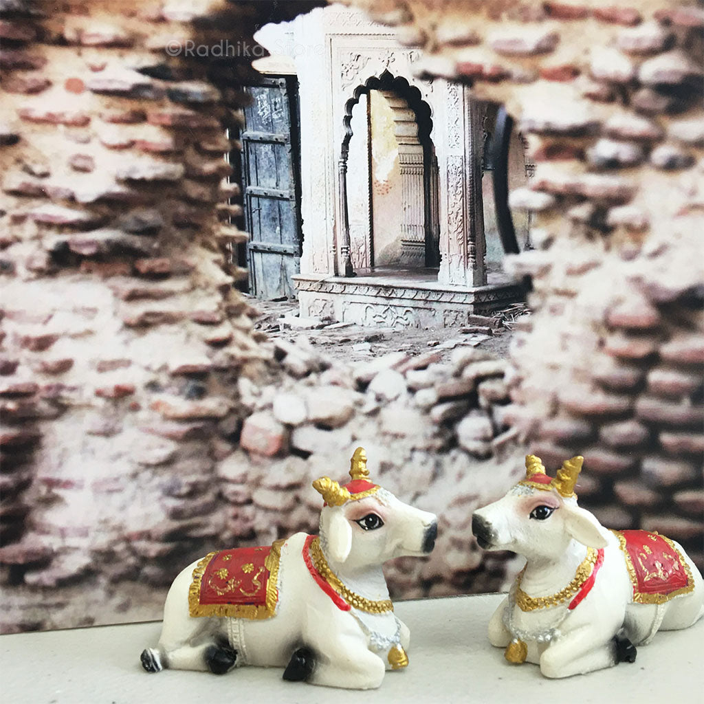 "Small Surabhi Altar Cows Red Set  Sitting 2"" Inches"