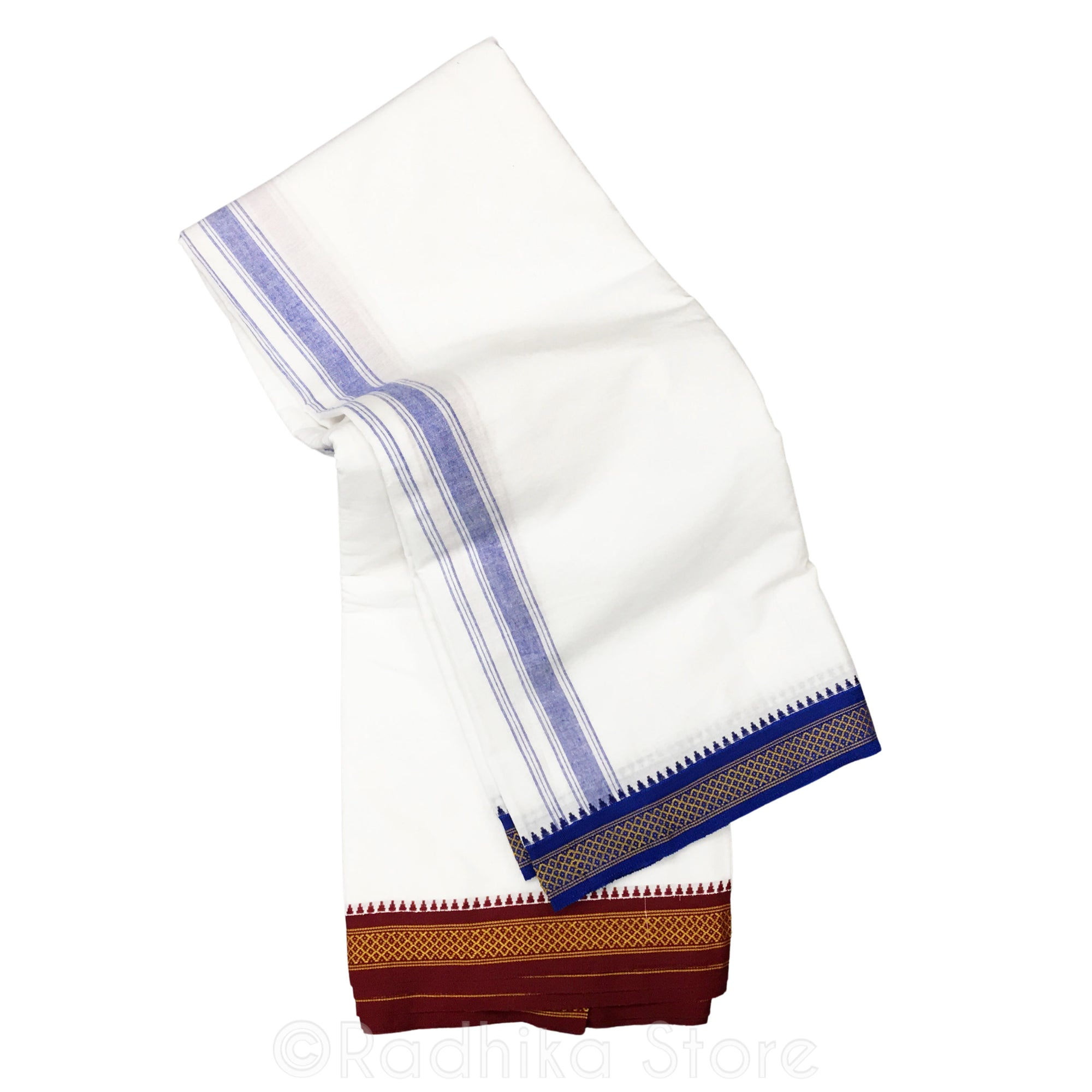Cotton Dhoti - White With Blue And Maroon Stripe