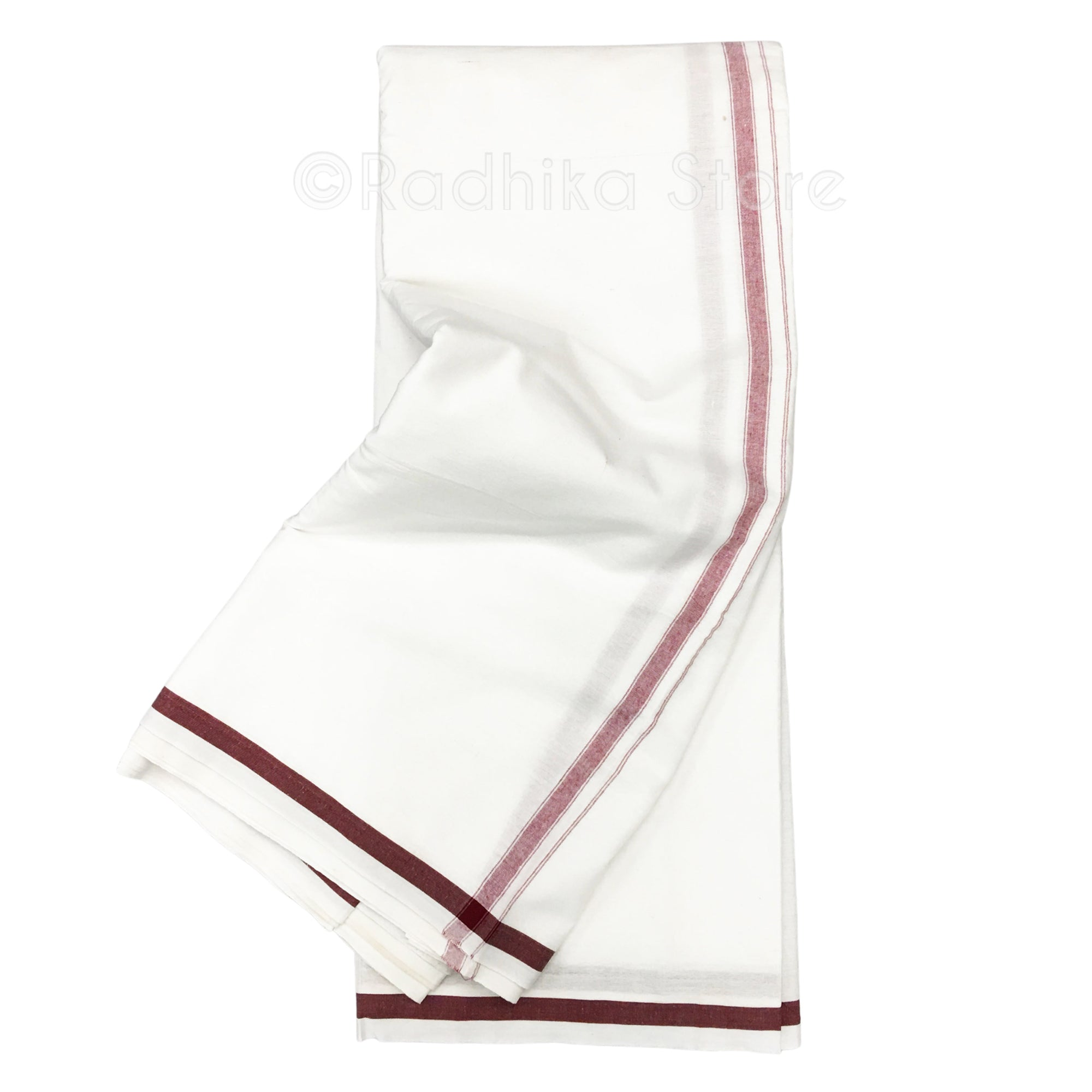 Cotton Dhoti - White With Maroon Stripe