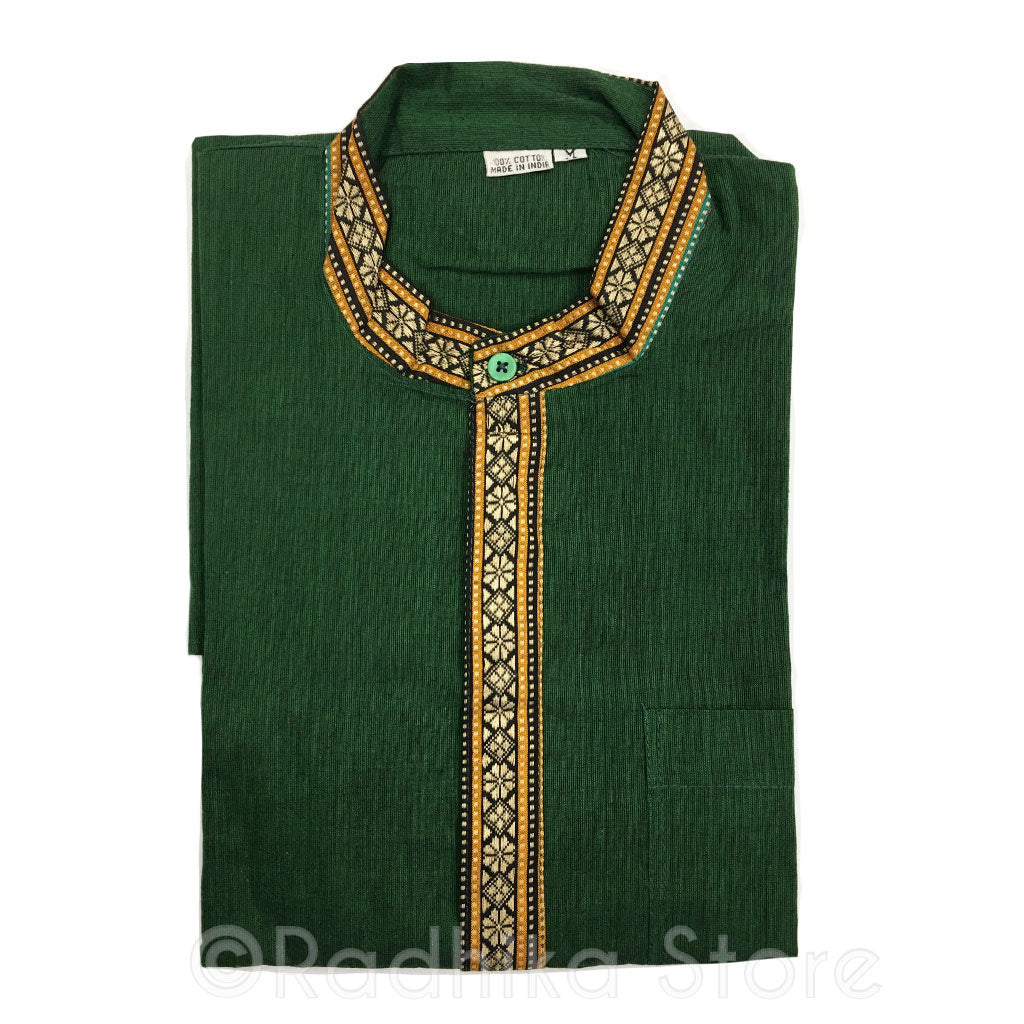 Dark Green Kurtas - With Beige, Gold and  Black Trim - S,m,l,xl,