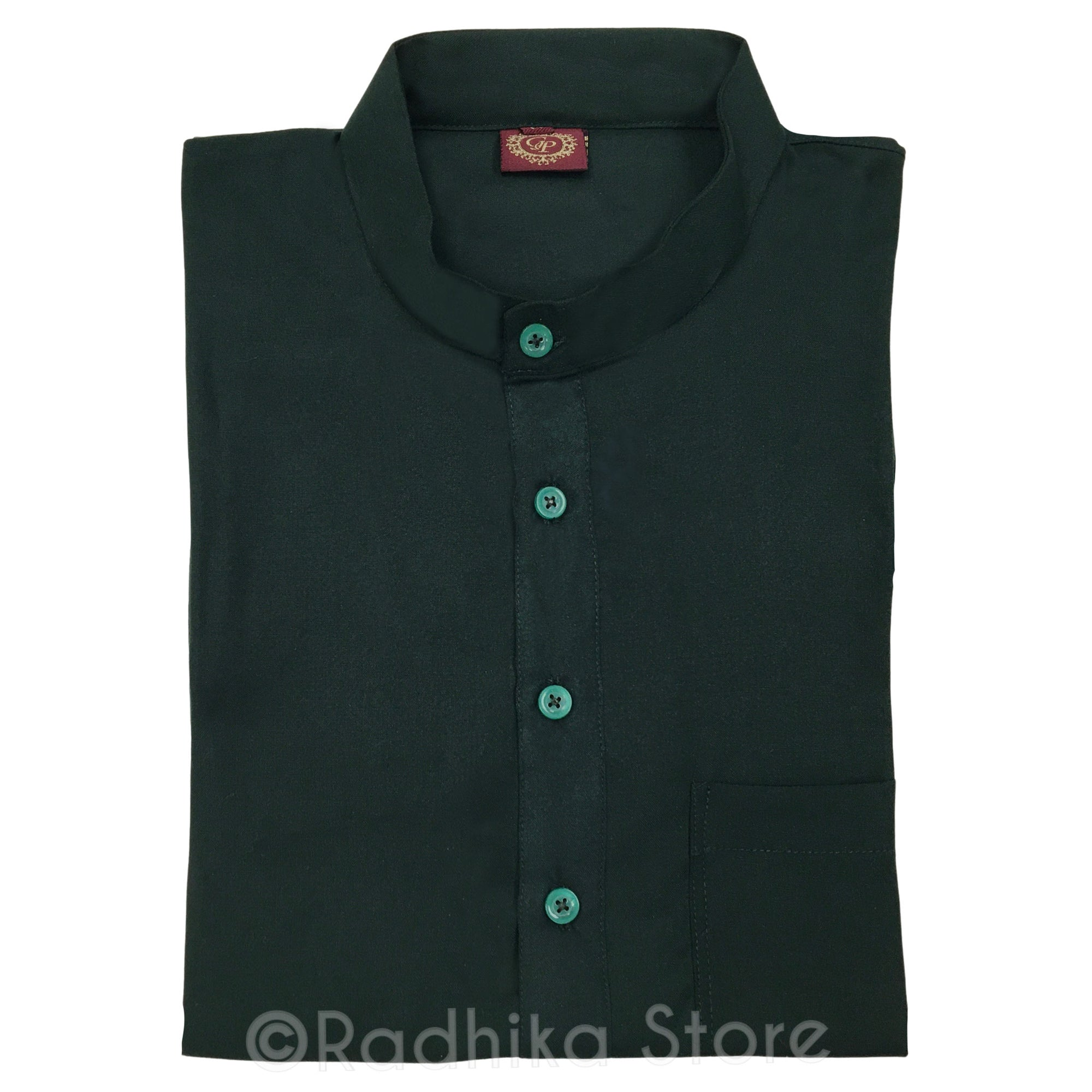 Dark Forest Green -  Cotton/Rayon - Long Sleeve Kurtas
