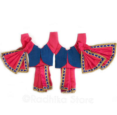 "Transcendental Brothers Fuschia And Blue With Vest Deity Outfit - (Gaura Nitai) -4"" Dhoti"