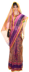Vrindavan Flower with Purple Fushia Gold - Cotton Saree