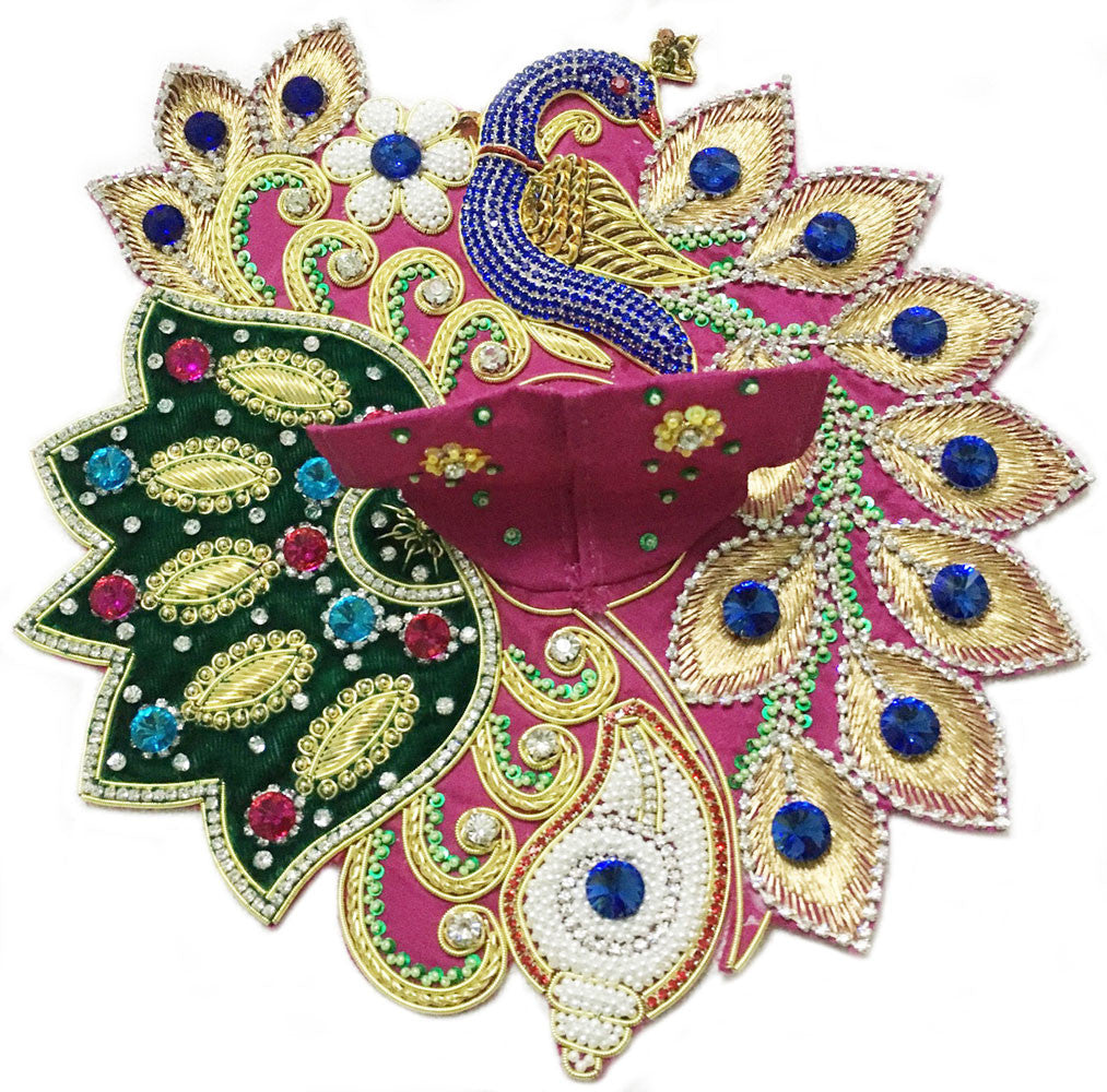 "Laddu Gopal Outfit Deep Pink Green Blue Peacock Conch 1"" to 2"" Inches Sizes"