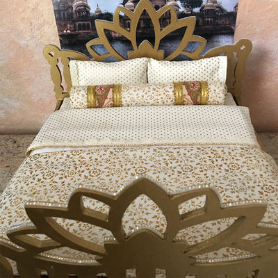 "Vrindavan Opulence - Gold Lotus Bed - 14 1/2"" Inch"