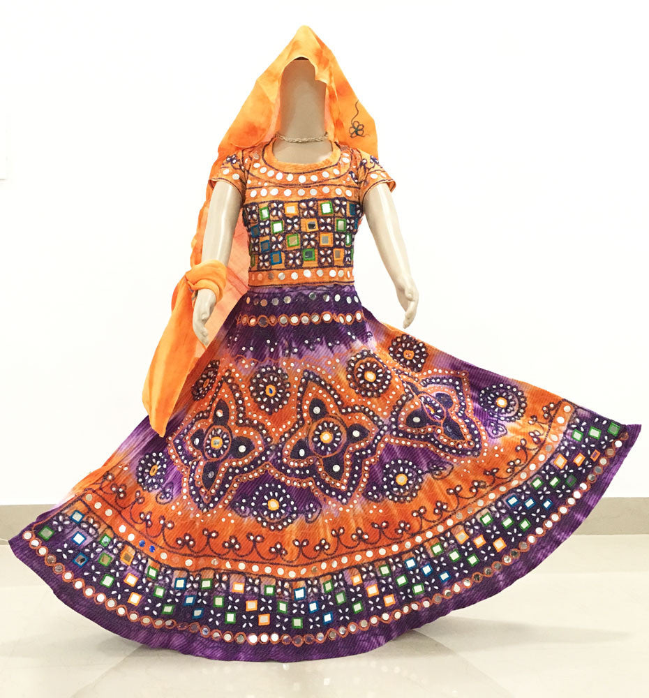 Gopi Skirt Outfit - Purple And Orange -Sizes - 3-5-6-8-9-10-12