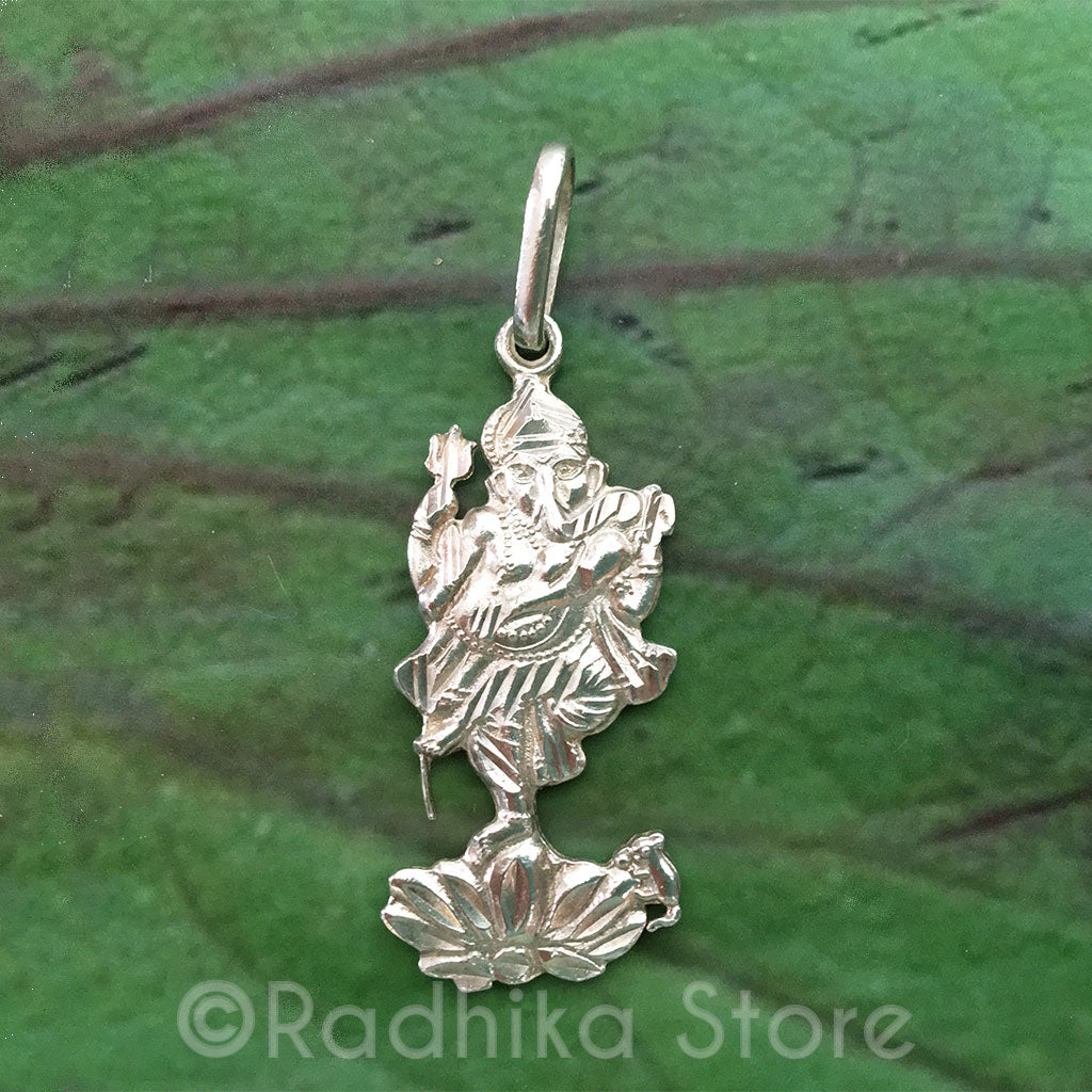 Ganesha On Lotus With Mouse - Silver Pendant