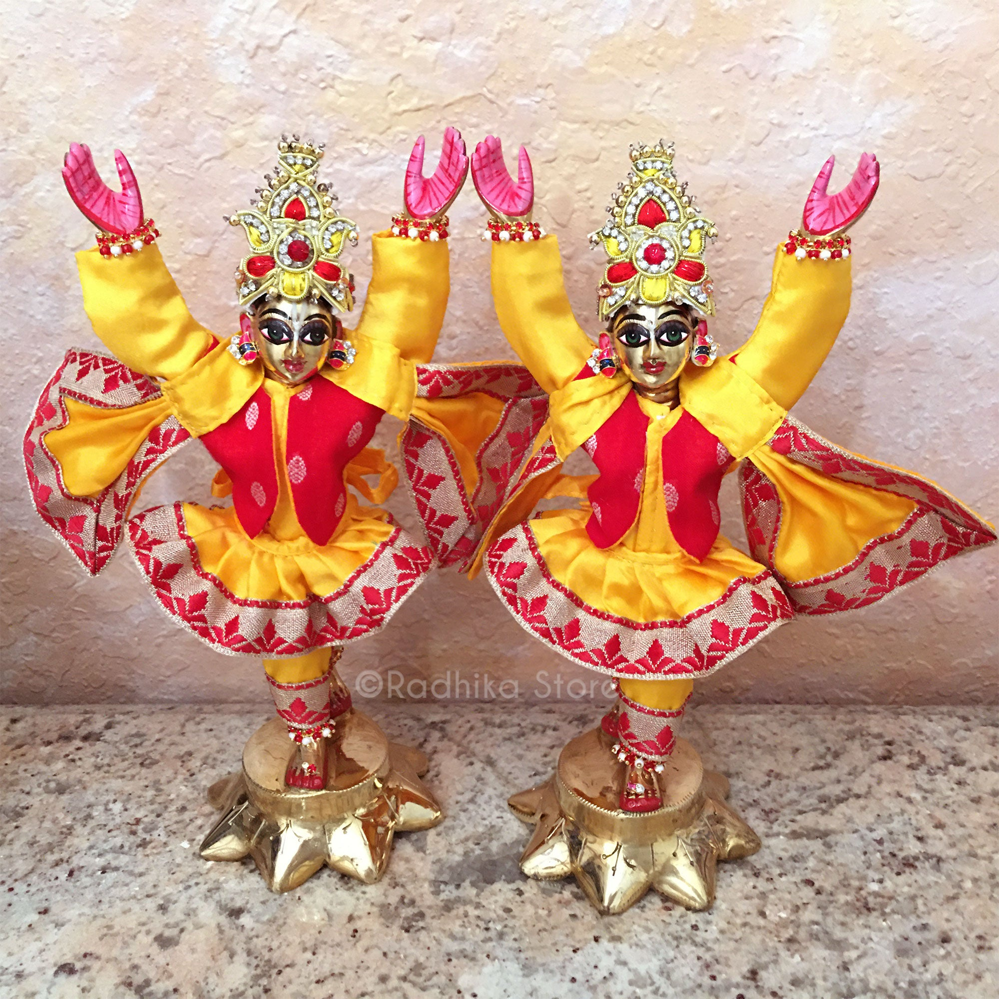 Sweet Braja Style Outfit- Friendship and Love - Marigold Yellow And Red - (Gaura Nitai)-