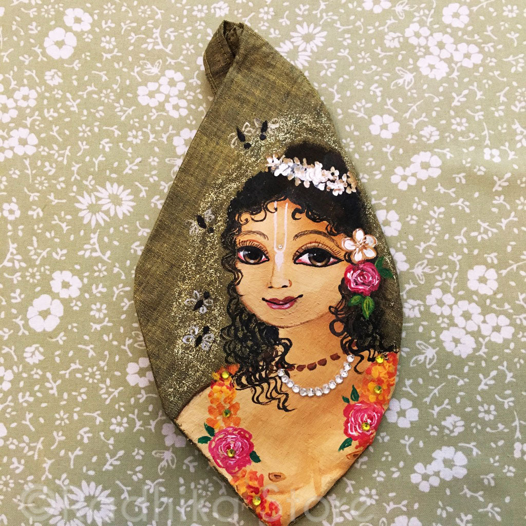 Gaura Sundar - Hand Painted With Jewels - Golden/Black - Jute - Bead Bag