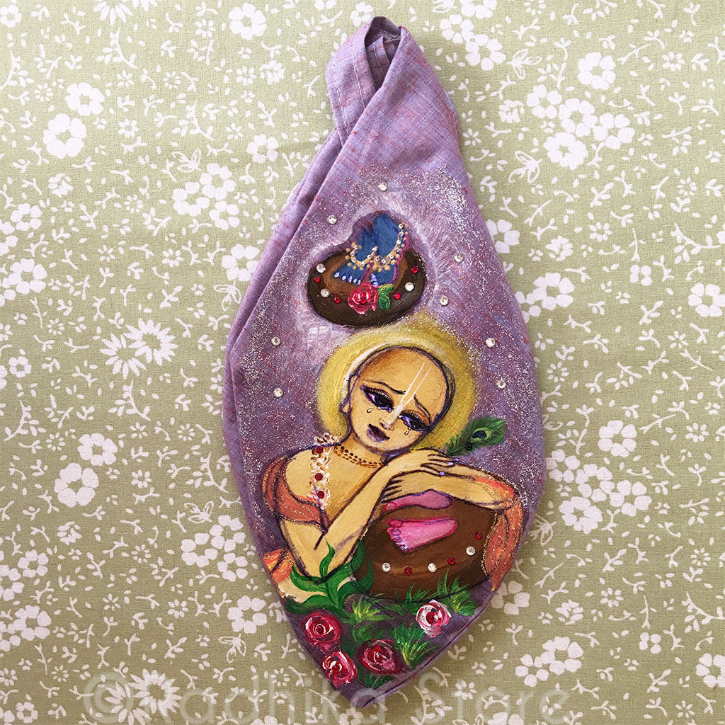 Gauranga Prema- Hand Painted With Jewels - Mauve/Purple Jute-  Bead Bag