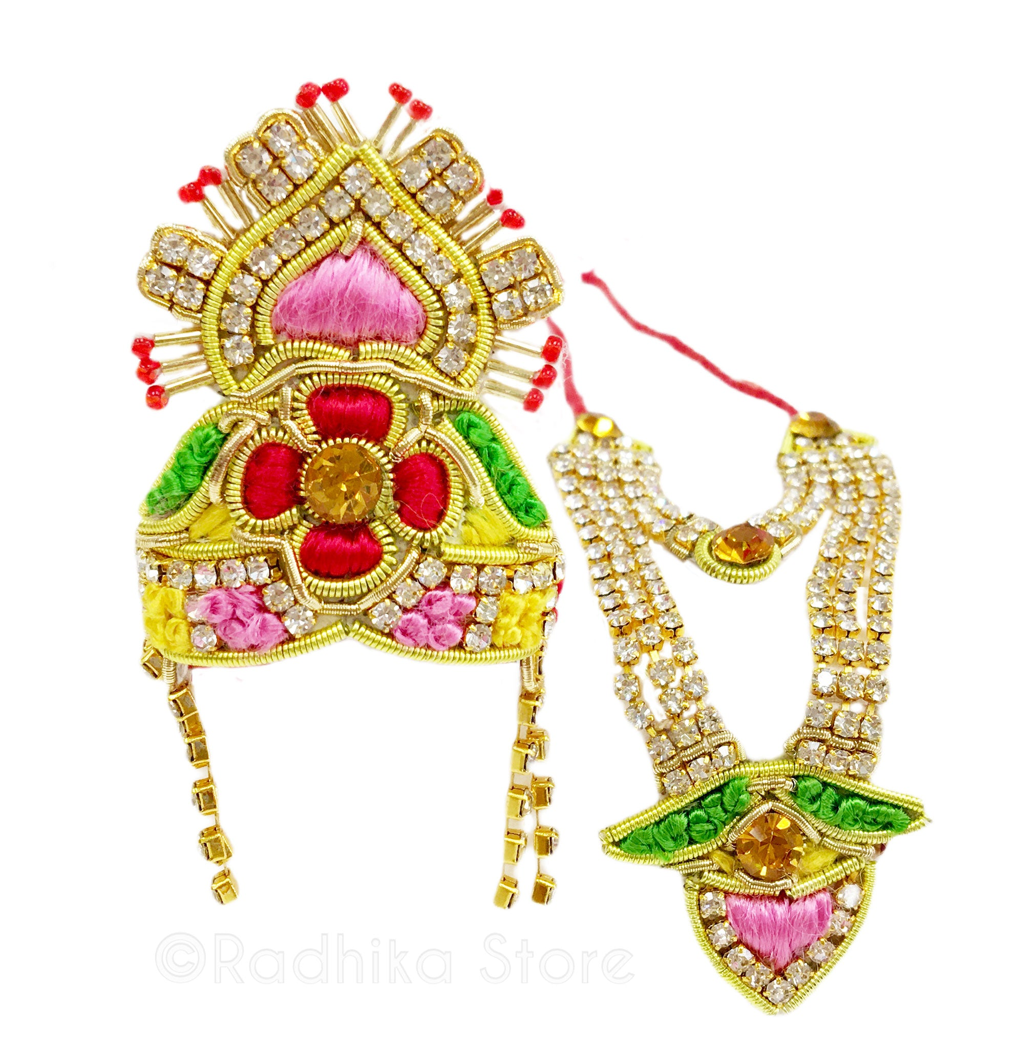 Gaurangi Flower - Deity Crown and Necklace Set