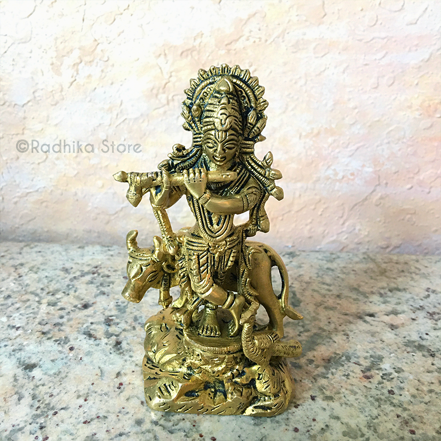 "Giriraj Krishna With Cow and Peacock - Brass Murti - 4.5"" Inch"