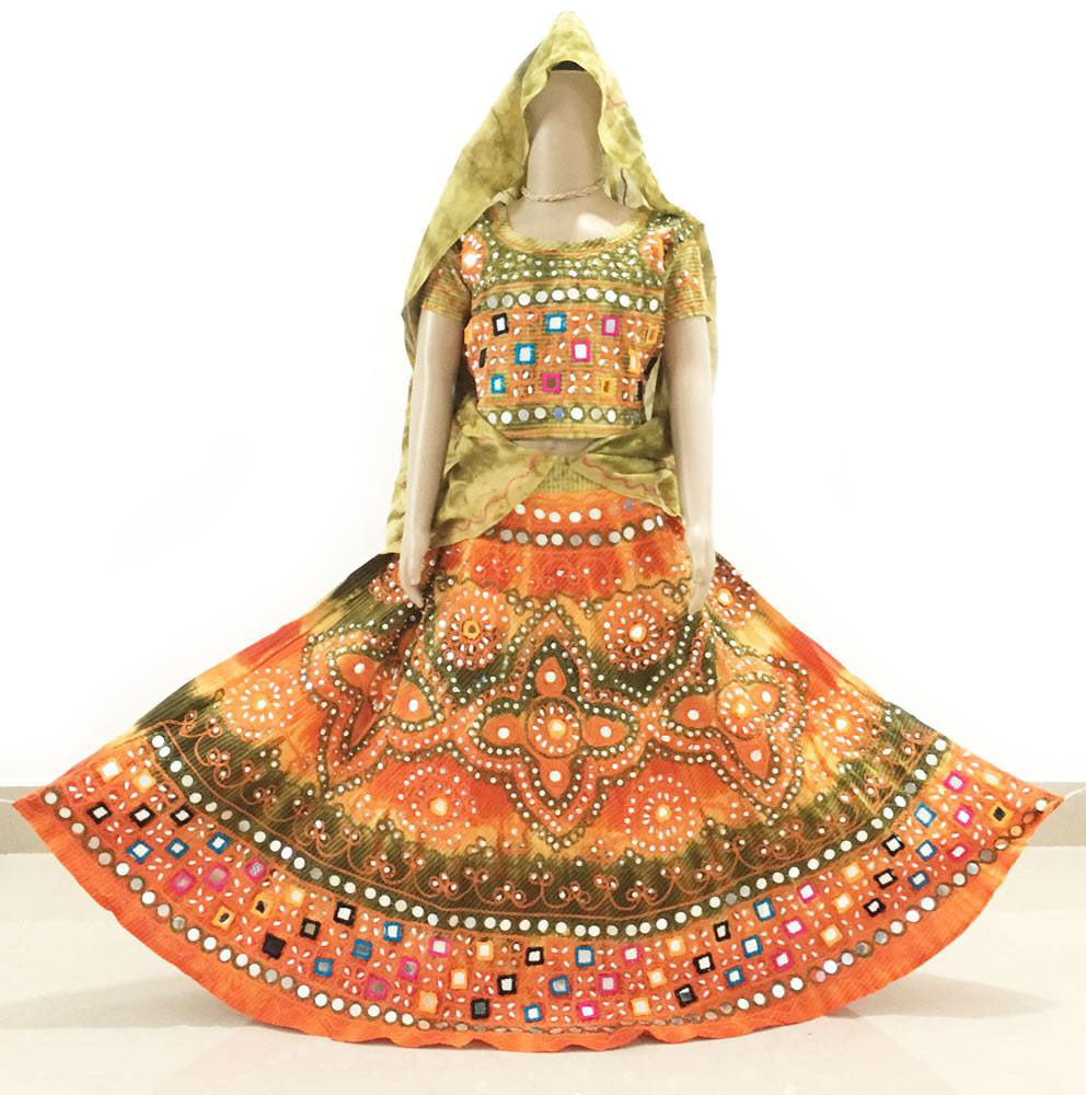 Gopi Skirt Outfit - Orange and Green - Sizes - 3-5-6-8-9-10-12