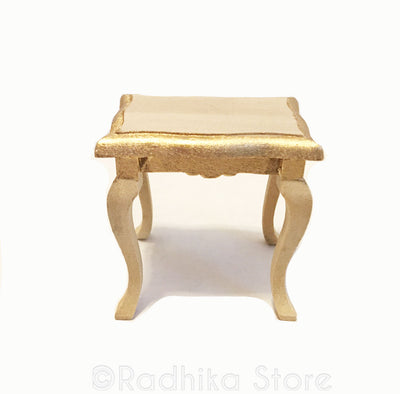 Natural Wood With Gold - Fancy Side Table
