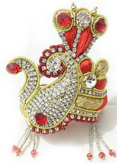 Red and Gold Rhinestone Chandrika Crown Set