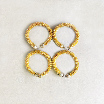 Gold Mesh Bangles Set of 4-