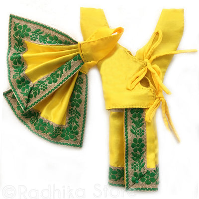 Gauranga Golden WIth Green Outfit - (Gaura Nitai)- Choose Size And Style