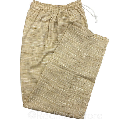 Mens Jute Yogi Pants  - Wheat Color - S, M, L, XL