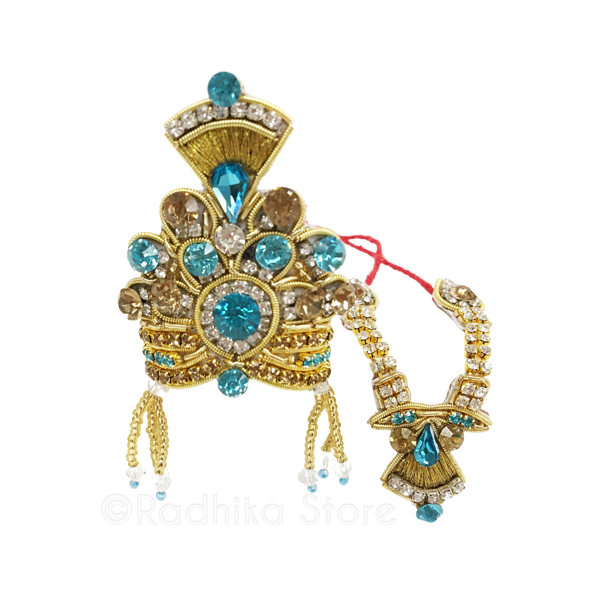 Golden Peacock Feather in Yamuna - Deity Crown and Necklace Set