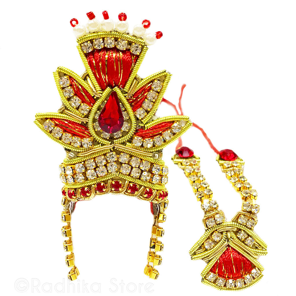 Golden Saffron Leaf- Deity Crown and  Necklace Set