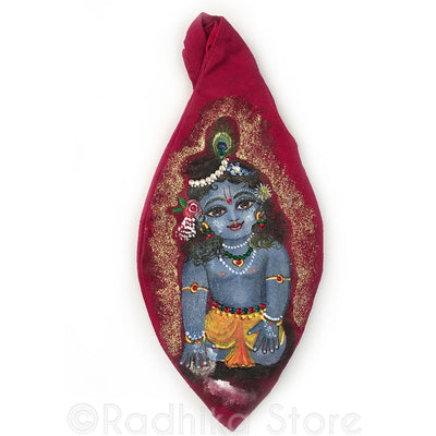 Sri Damodara - Hand Painted With Jewels - Red Bead Bag