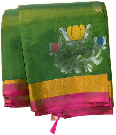 Gorgeous Green Silver Gold Lotus - Silk Cotton Saree