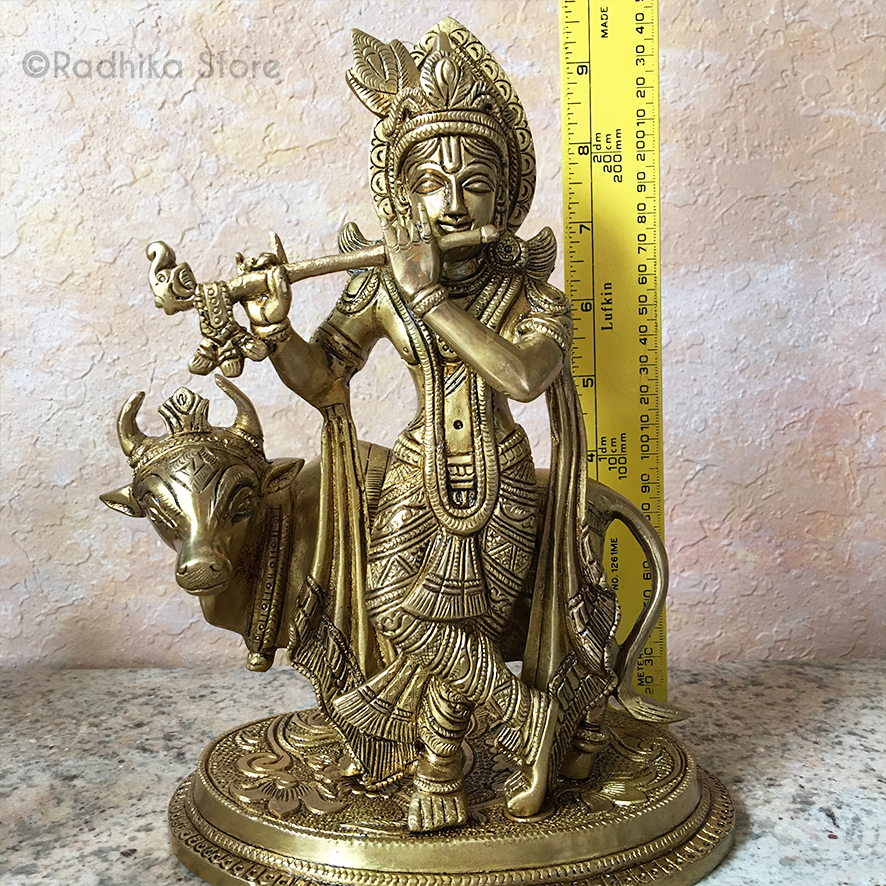 "Govardhana Krishna With Cow - Brass Murti - 9"" Inch"