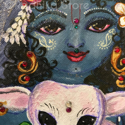 Govinda Gopala Hand Painted With Jewels- Blue Jute - Bead Bag