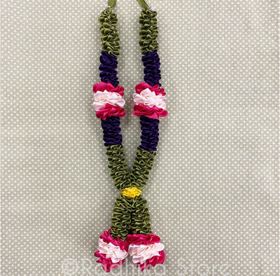 Dark Green Purple and Pink Rose With White and Yellow - Deity Garland - Size Large