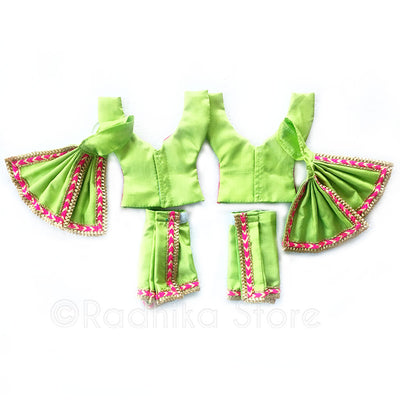 Green Vrindavan Parrot Colors Deity Outfit - (Gaura Nitai) - Choose Size