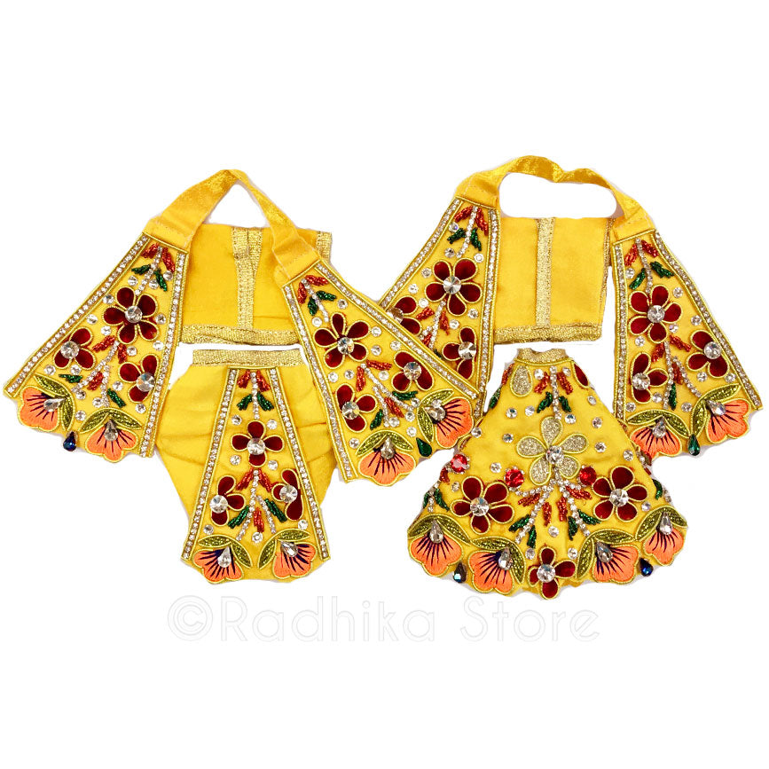 Blissful Garden  Marigold Yellow - Outfit (Radha Krishna)