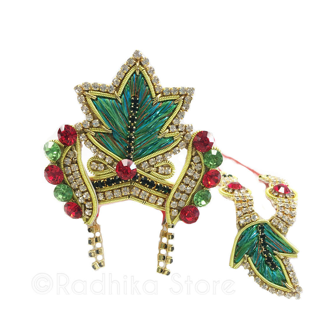 Holiday Leaf With Earrings - Deity Crown Necklace Set - Greens-Red and Black
