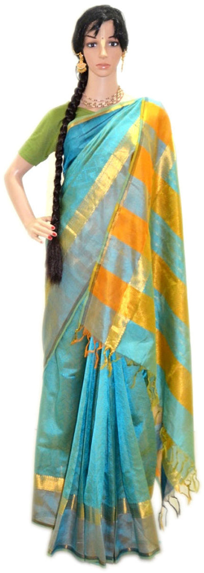 Holy Water Colors With Orange/ Gold- Pure Silk Saree