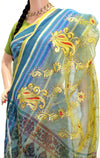 Sacred Waters of Blue - Golden Green Sheer Saree