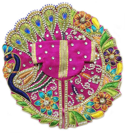 "Laddu Gopal Outfit Fuchsia Peacock Flowers  2 To 4"" Inch Sizes"