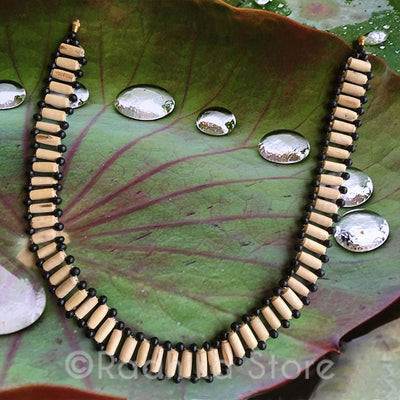 Choker Style Tulasi Necklace - With Black And Tube Beads