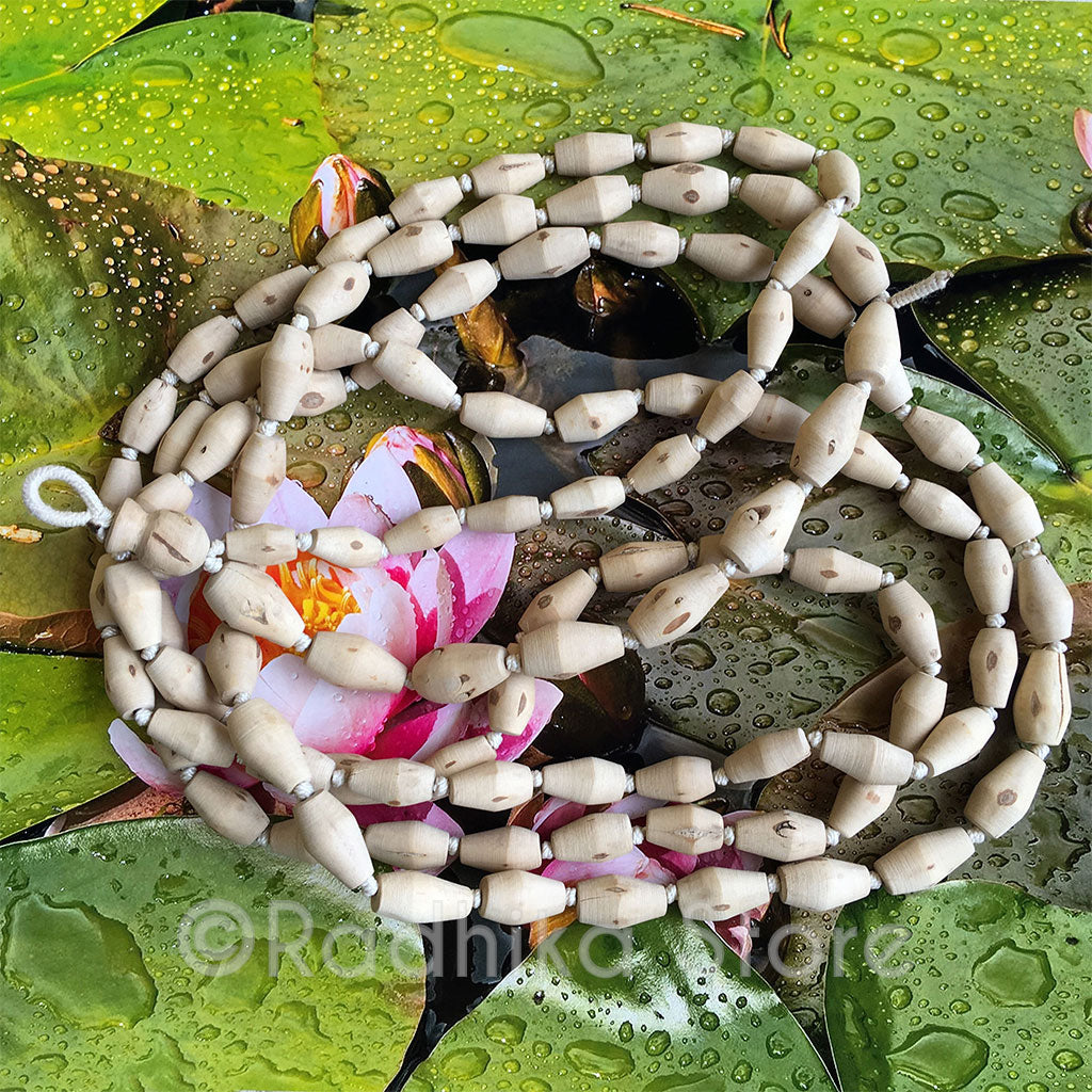 "Extra Large Mridanga Shaped Pure Tulsi Japa Japa Beads - Hang 56"" inches Long"