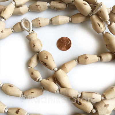"Extra Large Barrel Shaped Pure Tulsi Japa Japa Beads - Hang 56"" inches Long"
