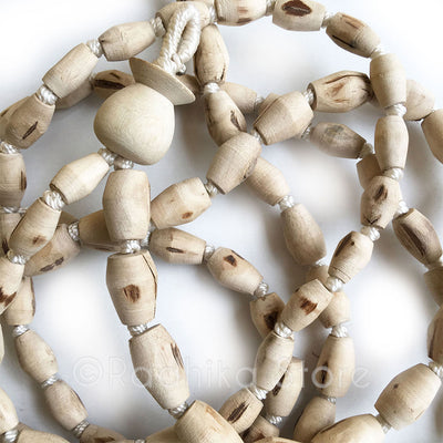 "Mridanga Shaped Pure Tulsi  Japa Beads - Hang 36"" inches Long"