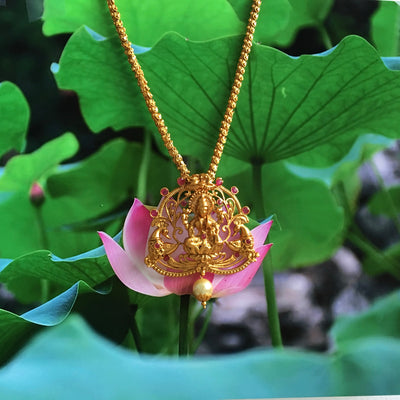 Divine Lakshmi on Chain Pink Necklace