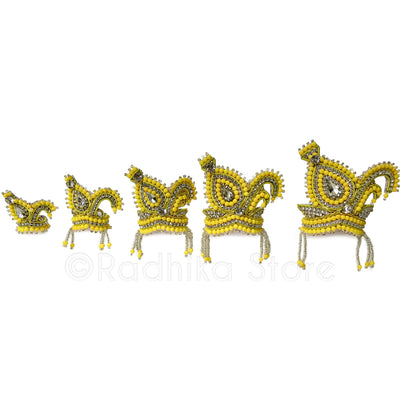 Yellow Vrindavan Swan - Rhinestone Crown