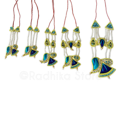 Peacock Colors Fan Chandrika - Rhinestone Crown And Necklace Set