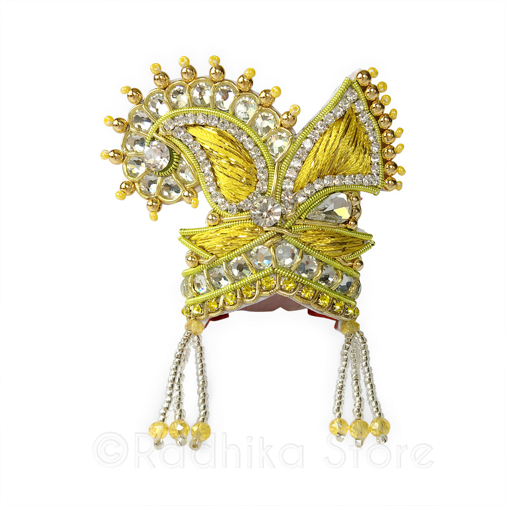 Golden Embroidery Crystal -  Chandrika Fan Crown