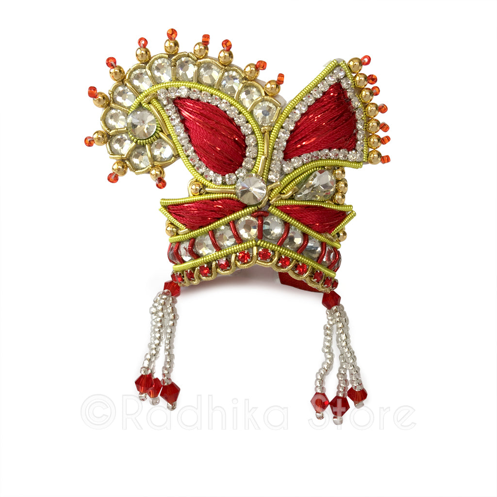 Red Embroidery Crystal -  Chandrika Fan Crown